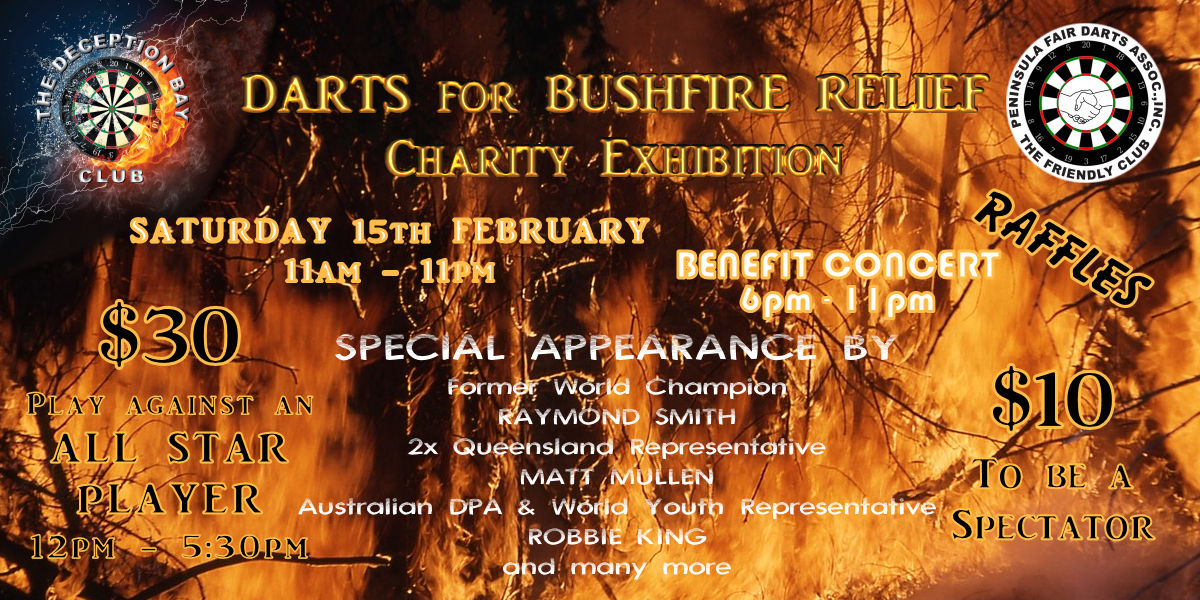 Darts for Bushfire Relief Charity Exhibition Play against All Star Dart Players