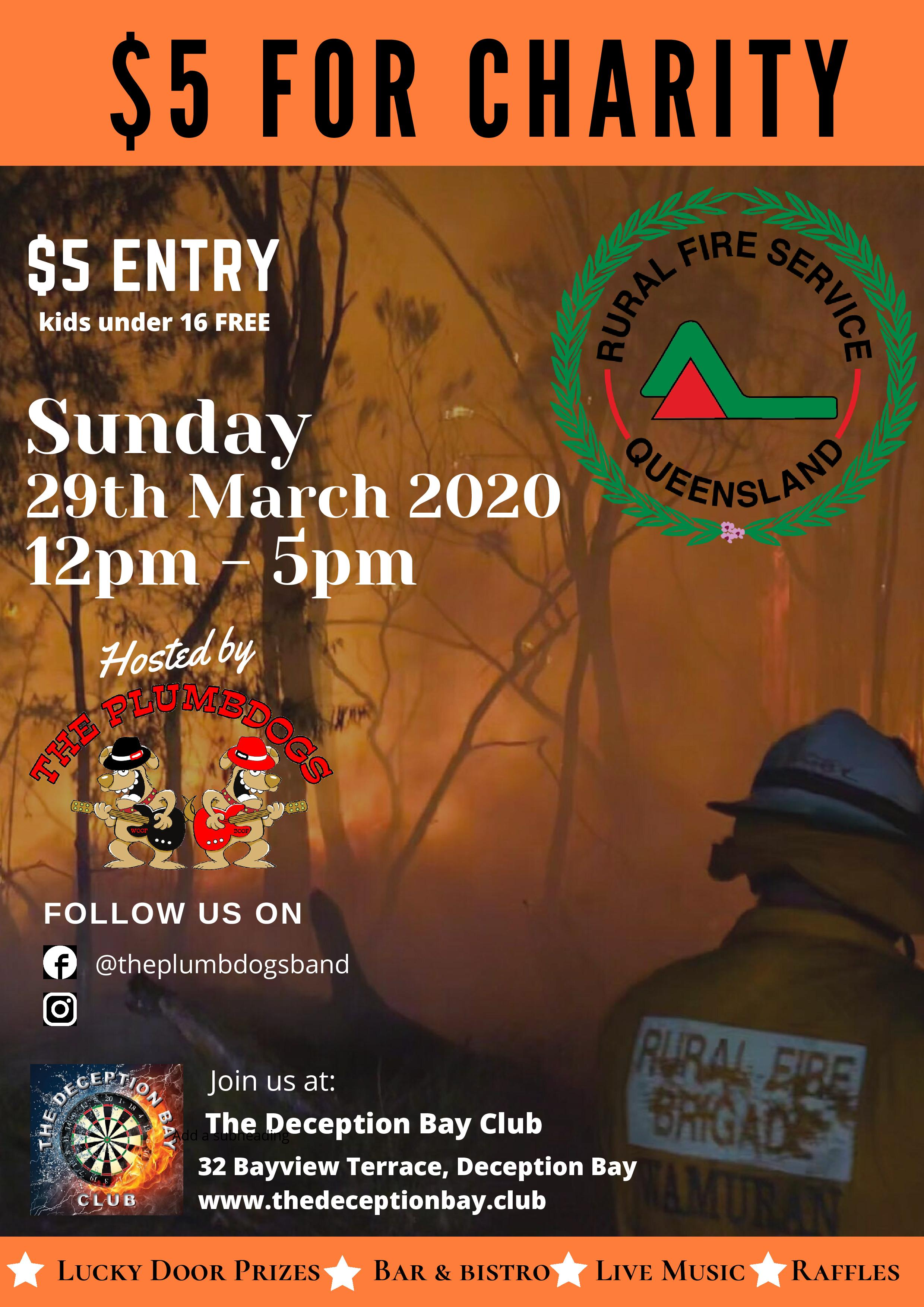5 For Charity Rural Fire Service Queensland 29th March 2020